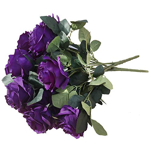 DALAMODA Purple 2 Bundles (with Total 20 Heads) Rose Flower Bouquet, for DIY Any Decoration Artificial Silk Flower(DL104-Purple) -