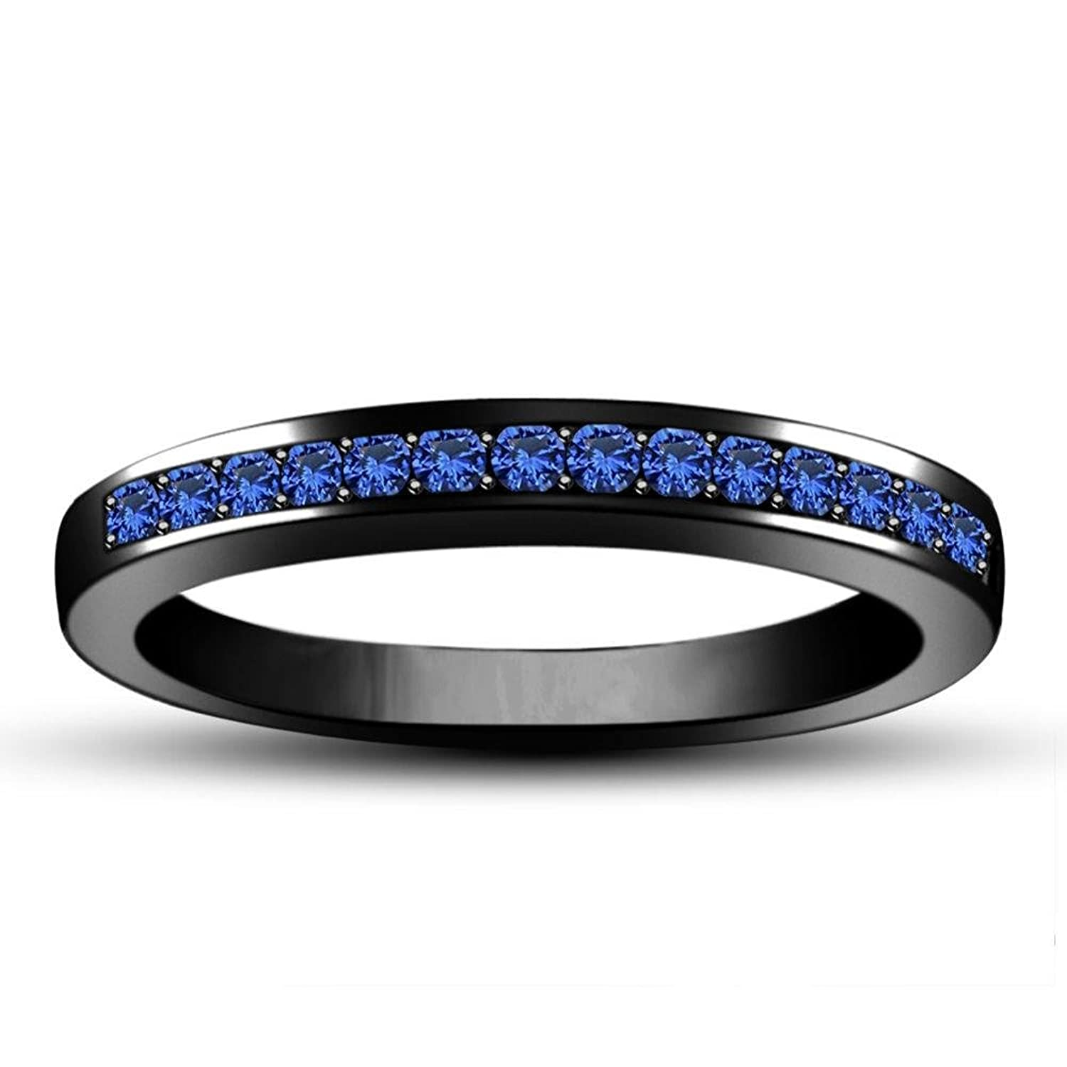 Anniversary Wedding Blue Sapphire Band Ring in Black Rhodium Plated Alloy