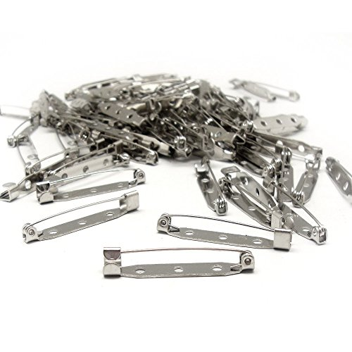 (100 Pcs Silver 32mm Tone Brooch Back Bar Pins)
