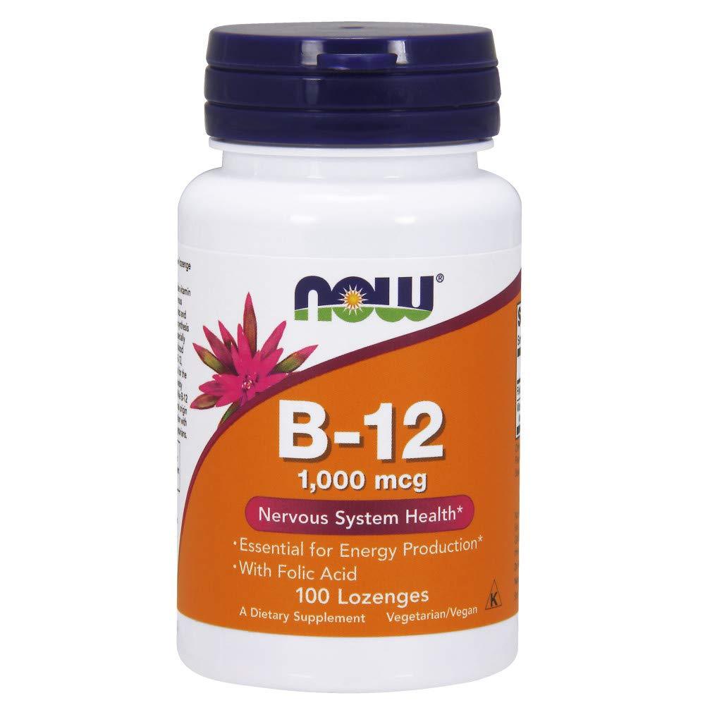 NOW Supplements, Vitamin B-12 1000 mcg with Folic Acid, 100 Chewable Lozenges
