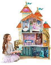 KidKraft 65939 Maison de poupées en bois Disney® Princesse Ariel incluant accessoires et mobilier, 4 étages de jeu pour poupées 30 cm