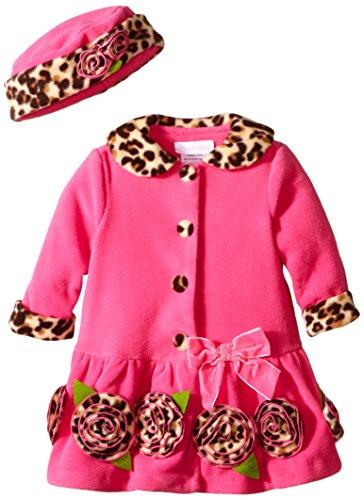 Bonnie Baby Baby-Girls Infant with Leopard Trim Fleece Coat and Hat Set, (Fleece Leopard Coat)
