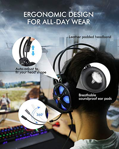 [2019 Newest] Gaming Headset EasySMX Cool 2000 Over Ear Stereo Gaming Headphone with Mic and Volume Control, for MAC/Smartphone/Nintendo Switch/PC/PS4, Dynamic LED Lighting (Black&Blue)