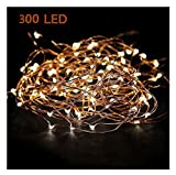 Extra Long 52foot 300led Starry String Lights Warm White on a Flexible Copper Wire, 52foot Starry Lights for Indoor, Outdoor, Decorative , Patio, Wedding, Garden, Room