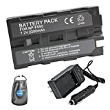 Amsahr S-NPF550 Digital Replacement Battery PLUS Battery Travel Charger for Sony NP-F550, NP-F330 with Lens Accessories Pouch (Gray)