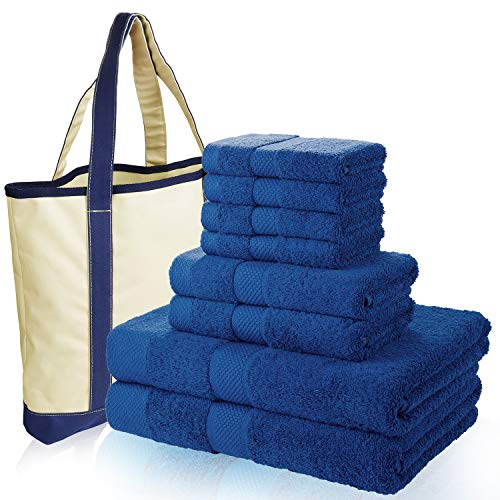 SEMAXE 700 GSM Bath Towels, 8-Piece Towel Set 100% Made of Cotton Super Absorbent Fade-Resistant (Blue with Canvas Bag)