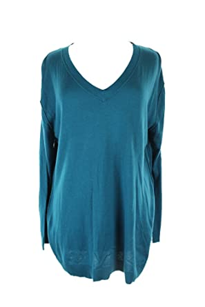 ff0efd21a August Silk Womens Knit V-Neck Pullover Sweater Blue M at Amazon ...