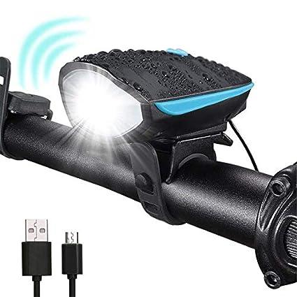 Luci bicicletta led, Luci bicicletta con corno, 3 modalità di luminosità, USB ricaricabile a LED, antiurto antiurto per appassionati di outdoor 3 modalità di luminosità ARMANII