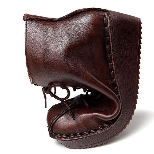 Fuxitoggo Frauen Frauen Frauen Keilabsatz Stiefel Vintage Lace up Platform Lederschuhe (Farbe   Braun, Größe   EU 37) 3fe8d5
