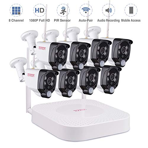 Tonton 1080P Full HD Wireless Security Camera System, 8CH NVR Kit and 8PCS 1080P 2.0 MP Waterproof Outdoor Indoor Bullet Cameras with PIR Sensor, Audio Record, Auto-Pair, Plug and Play(NO HDD)