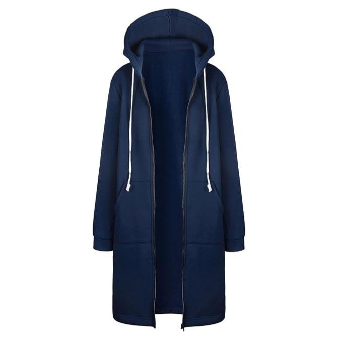 DAY.LIN Kleidung Damen Warm Reißverschluss Offene Hoodies Sweatshirt Langer Mantel Jacke Tops Outwear