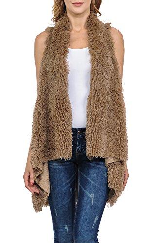 Triple9shop Women's 100% Warm Faux Fur Long Vest Fluffy Cardigan (One Size, Taupe) - Long Fur Vest