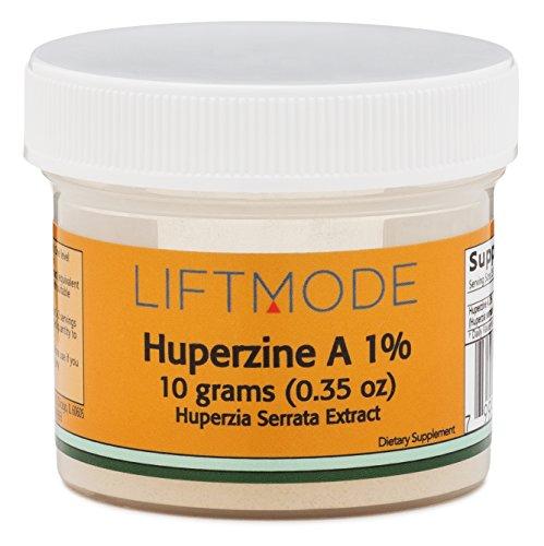 LiftMode Huperzine A 1% Pure Powder - 10 Grams (500 Servings at 20 mg = 200mcg ; 250 Servings at 400mcg ; 1000 Servings at 100mcg)   Bulk Supplement   Helps with memory   Huperzia Serrata Seed Extract