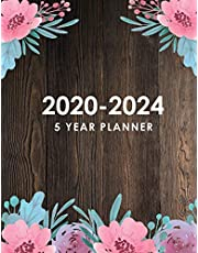 5 Year Planner 2020-2024: Wooden Retro Flower Cover | Five Year Monthly Planner | 60 Months Calendar with Holidays | 5 Year Appointment Calendar | Agenda Schedule Organizer Logbook and Journal Personal Entrepreneur | Personalized Appointment Notebook