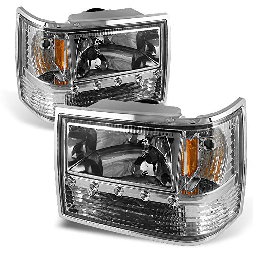 (For 93-98 For Jeep Grand Cherokee Clear 1 Piece DRL LED Headlights w/Corner Signal & Bumper Lamps Pair)