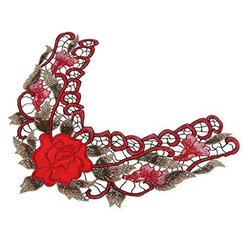 Neckline Collar Flower Patch Embroidered Sticker Garment Appliques DIY Craft