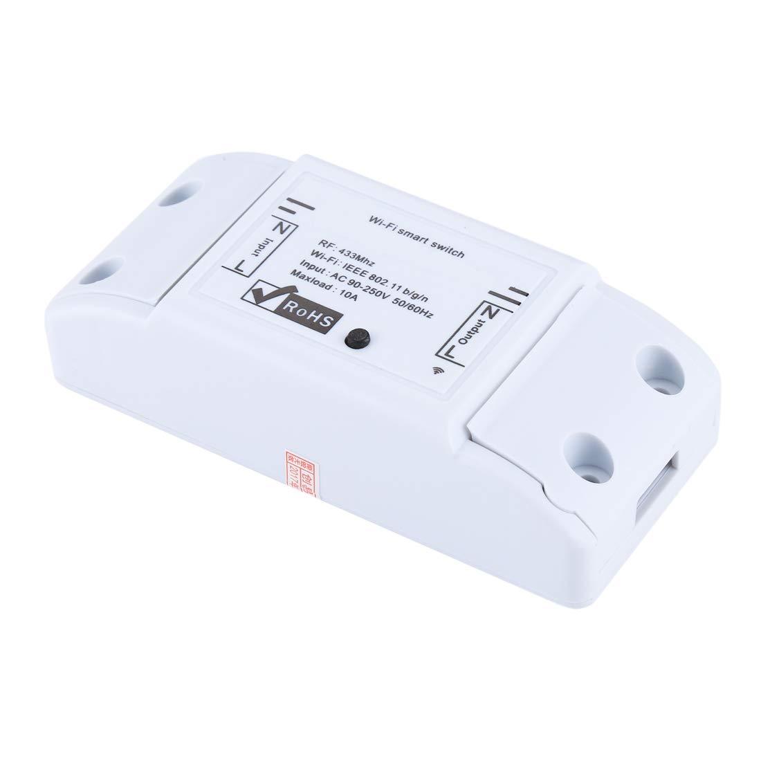 YONIS Interrupteur Connect/é iOS Android Relais 433 MHz WiFi Distance Minuterie Blanc