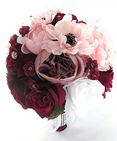 Wedding Bouquets Bridal Silk Flowers BURGUNDY WINE PINK Blush 17 Piece Package Bouquet Centerpiece Flower
