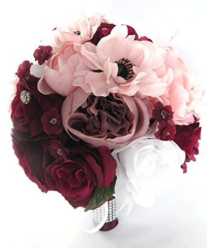 Amazon wedding bouquets bridal silk flowers burgundy wine pink wedding bouquets bridal silk flowers burgundy wine pink blush 17 piece package wedding bouquet centerpiece flower mightylinksfo