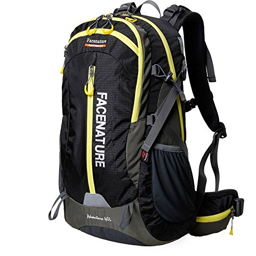 Price comparison product image Facenature Outdoor Sports Camping Hiking Climbing Waterproof Internal Frame Backpack Lightweight Travel Daypacks 40L 50L Trekking Packs with Rain Cover (Black, 40L)