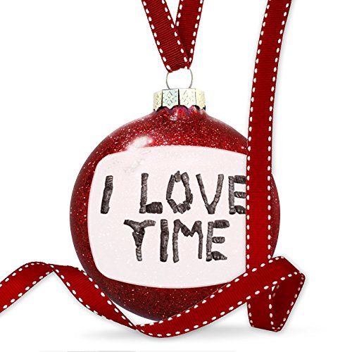 Christmas Decoration I Love Time Coal Grill Fire Place Ornament by NEONBLOND