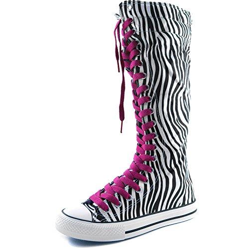 Stivale Alto Al Polpaccio Donna Alto Classico Stivaletto Alto Pizzo Alto Stile Punk Flat Sneaker Boots Zebra Boots, Hot Pink Lace