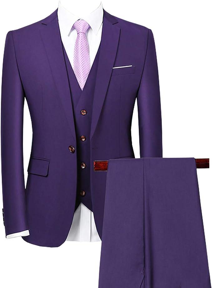 Springplus Mens Two-Piece Tuxedo Groomsmen Suits One Button Slim Fit Business Suits Blazer