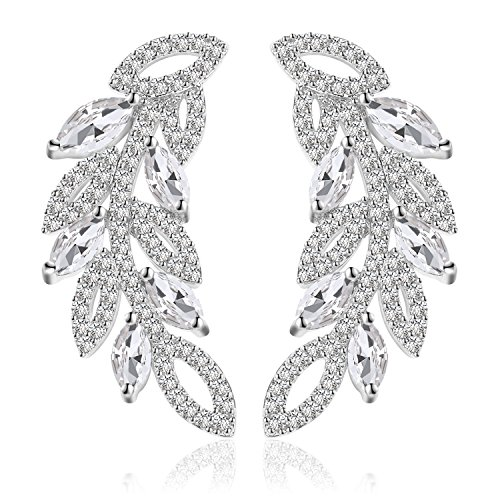 Ginasy New Leaf Bridal Studs Earrings in Cubic Zirconia Genuine Platinum Plated Brass and 925 Sterling Silver Post, Fine Jewelry for Fashion or Wedding (Silver Earrings White 1.06