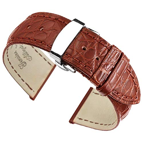 - 18mm Brown Watch Straps/Bands Replacement Luxury Alligator Skin Leather Handmade with Deployment Clasp