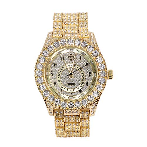 - Mens Classic Bling-ed Out Arabic Dial Gold Watch with Simulated Lab Diamonds | Japan Movement
