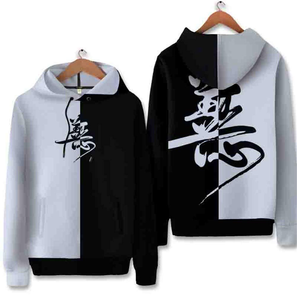 LLRCAZR Hoodie Chinesischen Stil Gut Und Böse Farbe Passend Hip Hop Lose Große Größe Männer Chinesische Schriftzeichen Druck Hoodie Kontrast Farbe Mantel