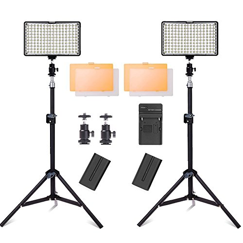 SAMTIAN LED Video Light with Stand and 3200/5500K Color Temperature Camera Light Kit for Canon Nikon Sony DSLR Camera and Camcorder Battery,Including Charger,Mini Ball Head and Carry Case (Camera Lights Led)