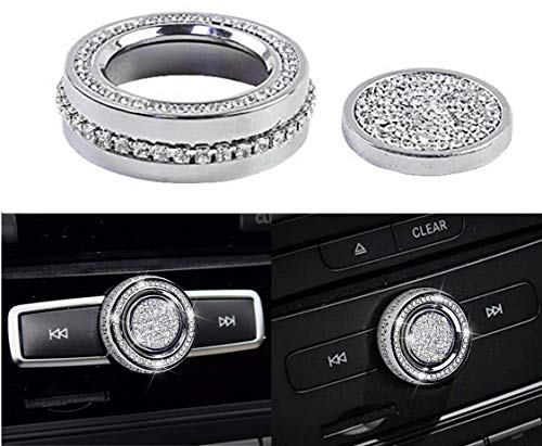 (YUWATON Bling Car Interior Trim Rhinestones 3D Decals Volume Sound knob Button Cover for Mercedes-Benz New B C E S Class GLA GLK CLA CLS Car Styling 2Pcs/Set(Silver))