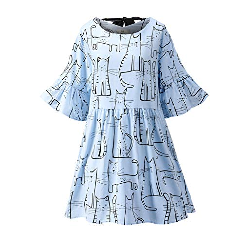 Cat Printed Swing Dresses for Women, Flared Sleeve Round Neck Casual Mini Skirt (Sky Blue, XL)