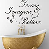 Weksi®14.17 X 23.62 Inch Removable Vinyl Wall Stickers Dream Imagine Believe Quote Wall Stickers for Bedrooms and Baby Nursery Kids Wall Decor Stickers(Style 13)