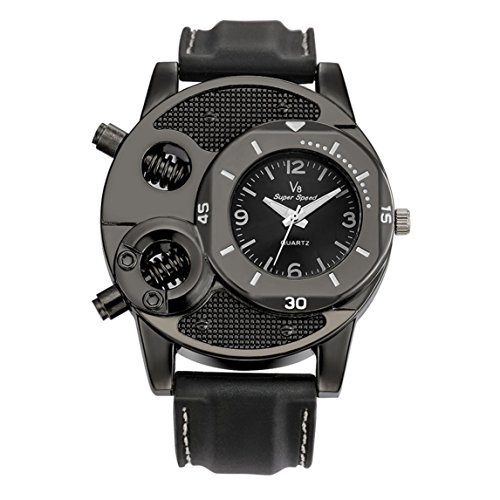 Price comparison product image Nadition Mens Quartz Watches Clearance Unique Analog Cheap Watches On Sale Leather Wrist Watches (Black B)