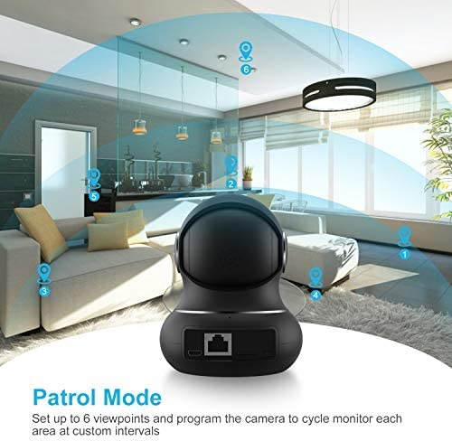 [Updated Version] Indoor Home Security Camera, Littlelf 1080p 2.4G WiFi Camera with Smart Motion Tracking Detection, 2-Way Audio, Night Vision and Cloud Service, Compatible with Alexa (Black) 51CeelWWZQL