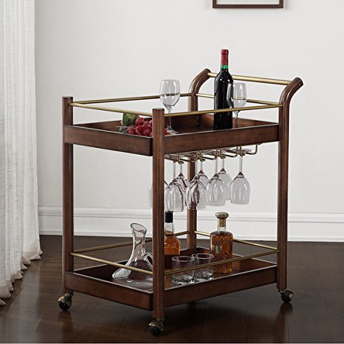 Mid-Century Style, Wood Bar Cart, Brown For Sale