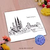 VROSELV Custom Cotton Microfiber Ultra Soft Hand Towel-illustration sketch landmarks malaysia the main building and the twin towers Custom pattern of household products(20''x20'')