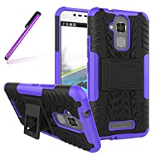 Asus ZenFone 3 Max ZC520TL Case, LEECOCO Heavy Duty Tough Armor Box Dual Layer Hybrid Hard PC and Soft TPU Shockproof Protective Defender Case for Asus ZenFone 3 Max 5.2 Inch Heavy Purple