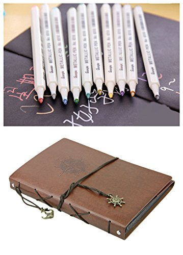 2 Pack 1MM Colored Metallic Marker Pens 10pcs + Graffiti Notebook Black Page DIY Photo Album Blank Scrapbook Sketchbook 8