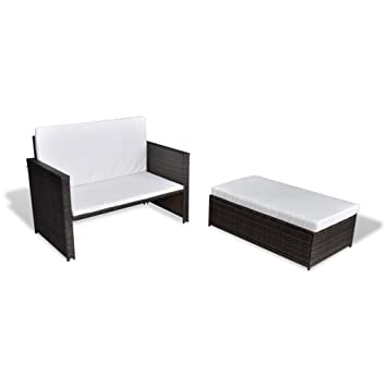 Amazon.de: vidaXL 3in1 Rattan Sofabett Sofa Lounge Gartengarnitur ...