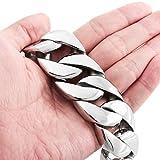 Dancing Stone Men's Large Heavy Stainless Steel Bracelet Chain Wrist Curb Biker (328g)