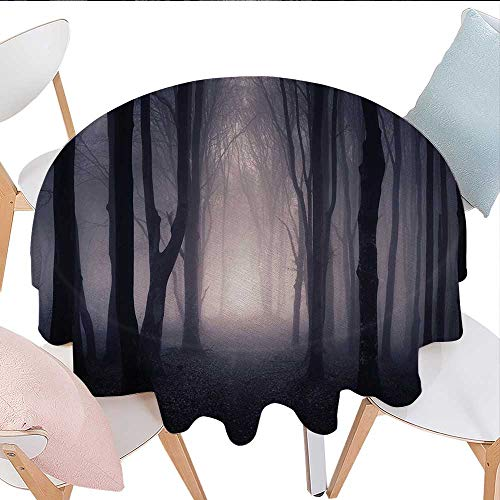 (Antaquzhuq Table Cloths, Path Through Dark Deep in Forest with Fog Halloween Creepy Twisted Branches Picture, for Kitchen Dining Party (Round, 36 Inch, Pink)