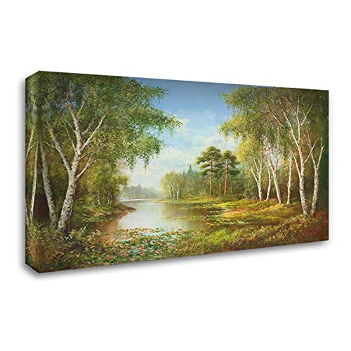 Secluded Pond - SECLUDED Pond 60x37 Extra Large Gallery Wrapped Stretched Canvas Art by Glassl, Helmut