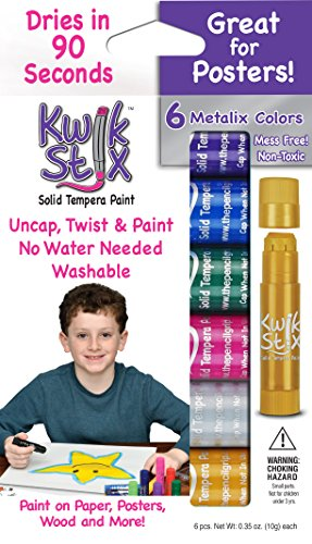 The Pencil Grip Kwik Stix METALIX Solid Tempera Paint, Super Quick Drying, 6 Pack (TPG-613)