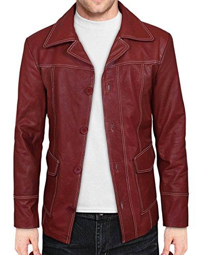 Club Coat (White Stitching Fashion Club Coat in Red Leather (Medium))