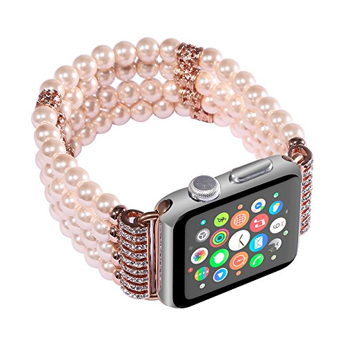 Price comparison product image HP95(TM) Women Fashion Beads Bracelet Repelacement Watch Band For Apple Watch Series 2/1 38mm (Gold)