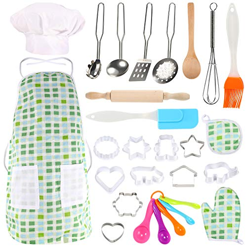 GEYIIE Kids Kitchen Playset, Pretend Play Kitchen Accessories Toys, Cooking Utensils Set with Stainless Steel Cookware for Boys Girls Toddlers Learning Tool