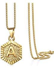 Hermah Gold Plated Charm Pendant Box Link Necklace Initital Capital Letter A-Z Mens Womens Pendant Hexagon Charm 22inch